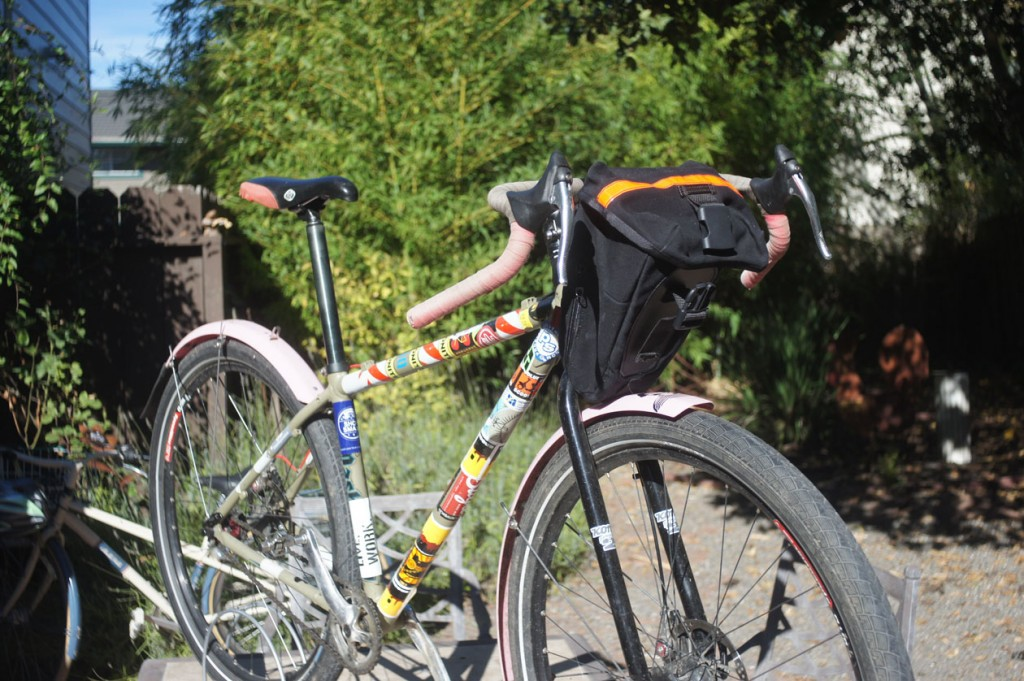 carradice seat bag as a handlebar bag