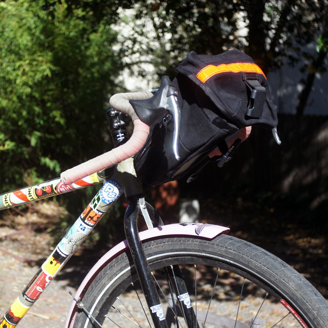 Carradice seat bag as a bar bag, on a fat-tired road bike with flared drop handlebars