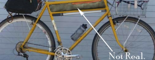 mock up of a tweed frame bag in a double-top-tube Rivendell bike frame