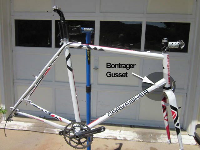 Bontrager downtube gusset on a Gary Fisher 'cross frame