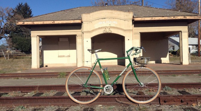 green fixed gear in healdsburg