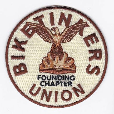 "Biketinkers Union patch - ""Founding Chapter"" Sheldon Brown tribute"